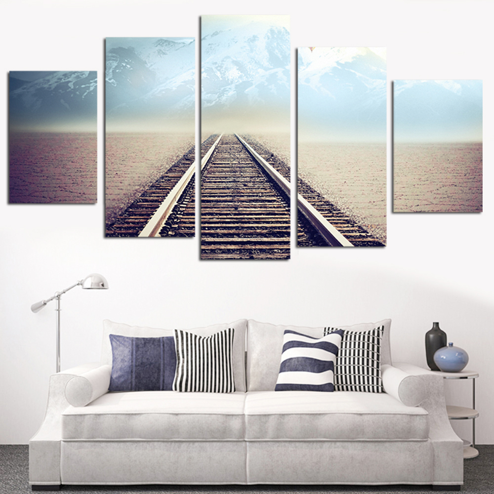 No Frame Oil Painting Railway Picture Canvas Painting Modern Wall Umělecká reprodukce Plakát Rome Decor Wall Painting Home Decoration 5pcs