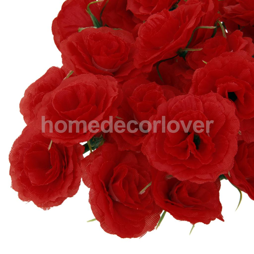 50Pcs Artificial Silk Fake Rose Flower Heads Bulk Wedding Party ...