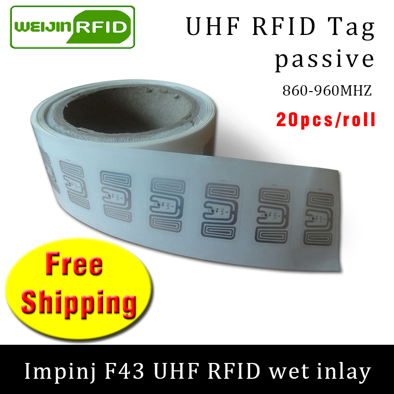 UHF RFID tag sticker Impinj F43 wet inlay 915m868 860-960mhz  EPC 6C 20pcs free shipping self-adhesive passive RFID label uhf rfid tag epc 6c sticker impinj j41 wet inlay 915mhz868mhz860 960mhz higgs3 100pcs free shipping adhesive passive rfid label