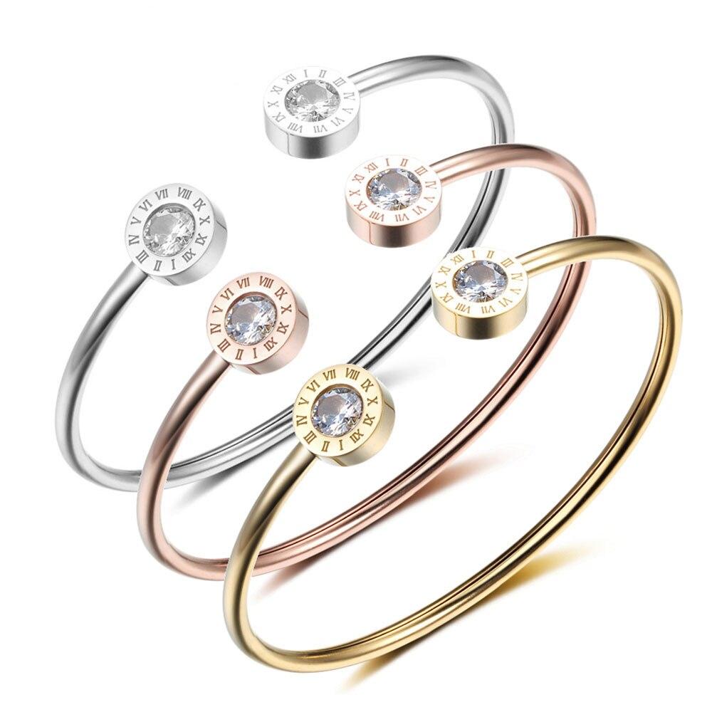 Pulseras y brazaletes de brazalete Pulseras de acero inoxidable para mujeres Números romanos 3 joyas de color Los mejores regalos (BA101841)