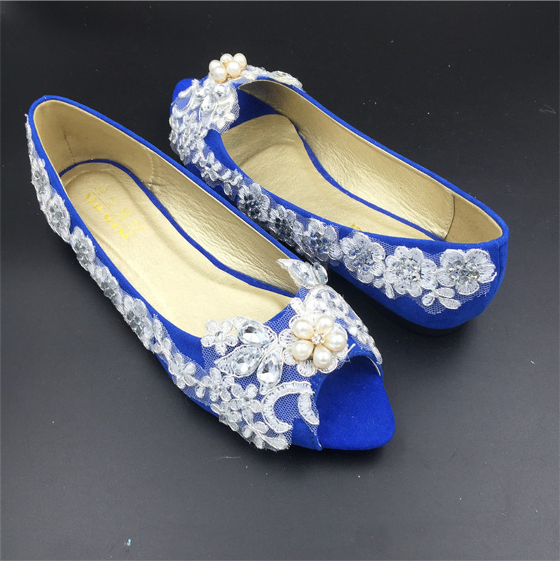 Royal Blue Women Wedding Party ShoesGirls Open Toe Ballet Flatslace Crystals Bridal Shoesus Size 125123456789 In Womens Flats From Shoes On