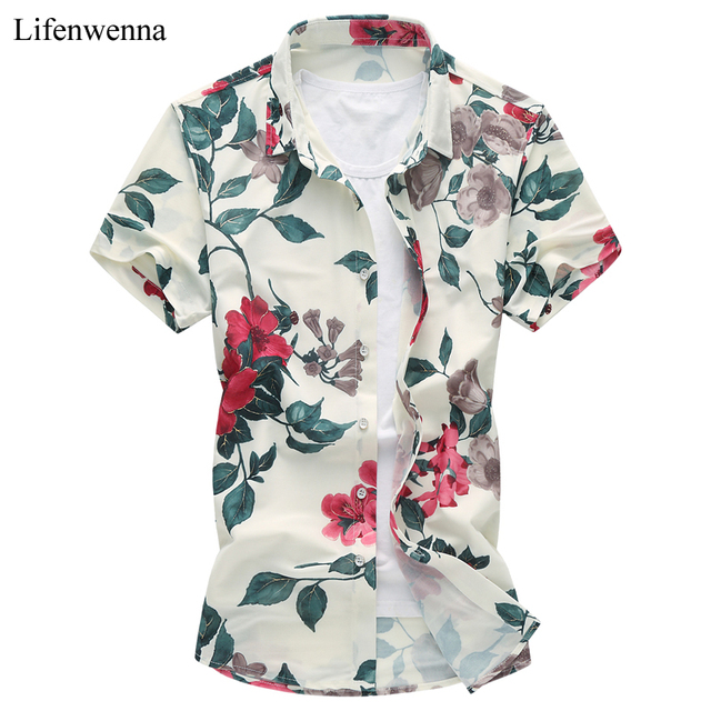 14b33dcf304a 2018 New Fashion Mens Flower Shirt Summer Short Sleeve Slim Fit Shirt Men  High Quality Mens Floral Shirt Men Plus Size 7XL