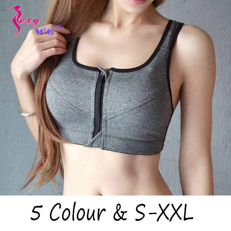 SEXYWG Hot Women Zipper Push Up Sports Bras Vest Underwear Shockproof Breathable Gym Fitness Athletic Running Yoga Bh Sport Tops(China)