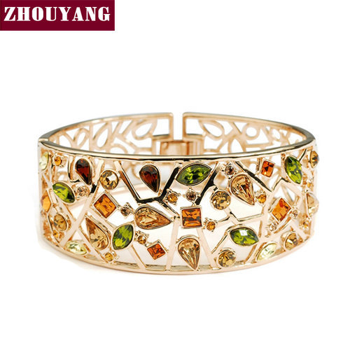 ZHOUYANG ZYB007 Luxurious Multicolour Rose Gold Color Bangle Jewelry Made with Genuine Austrian Crystals Wholesale