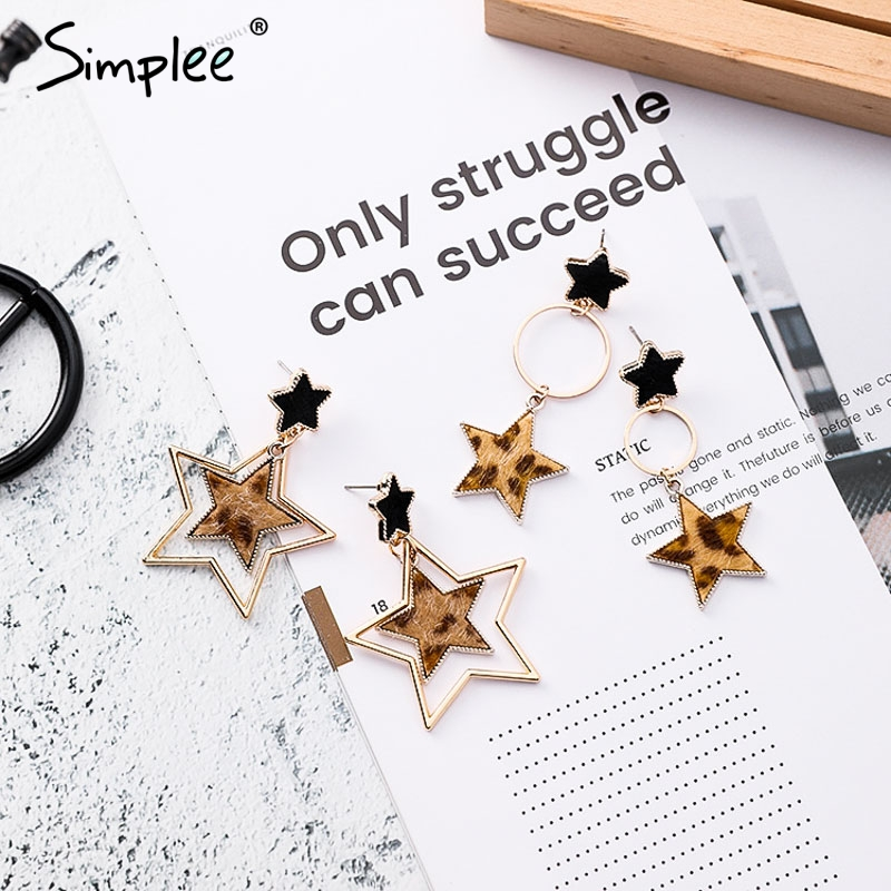 Simplee Leopard star ring earrings 2018 Geometric earrings for women hanging dangle earrings Drop earring modern jewelry