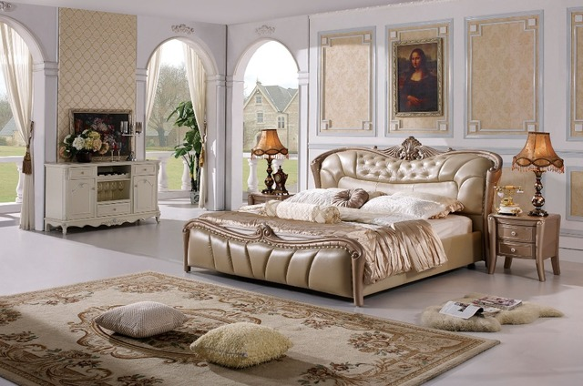 Il cuoio del progettista moderno morbido letto/grande doppio mobili ...