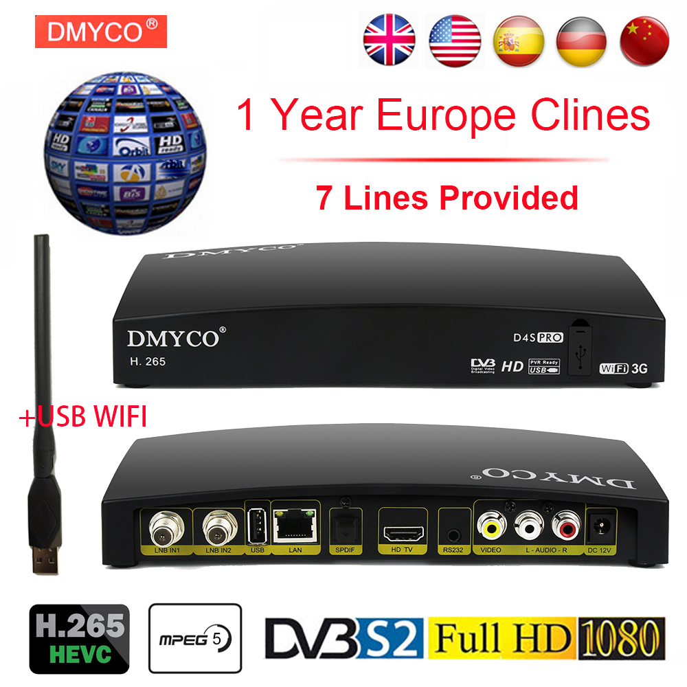 New Satellite TV Receiver Digital Receptor D4S HD Decoder DVB-S2 +USB Wfi +7 lines Europe Cline Support H.265 DVB S2 LNB Powervu