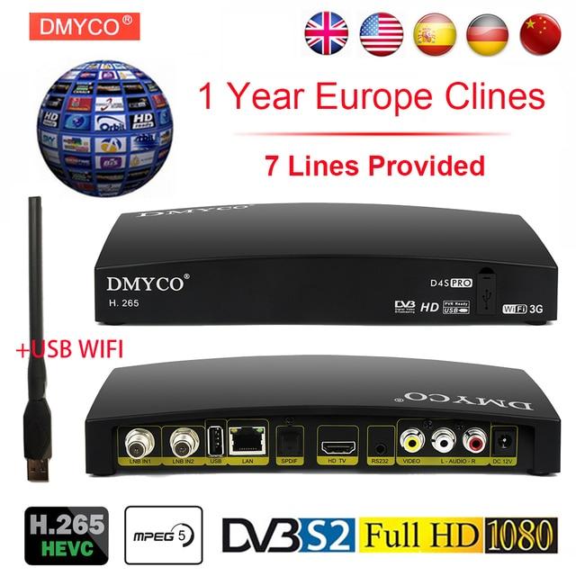 New Satellite TV Receiver Digital Receptor D4S HD Decoder DVB-S2 +USB Wfi +7 lines Europe Cline Support H.265 DVB S2 LNB Powervu