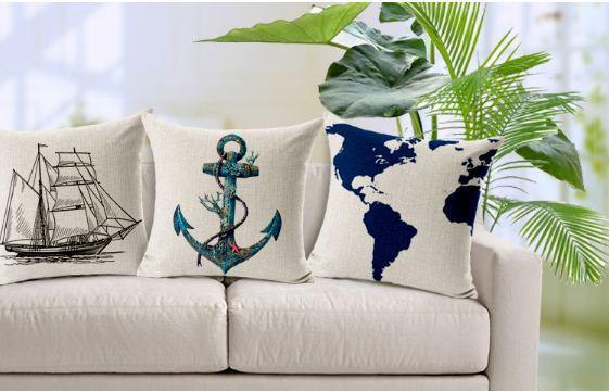 Nautical Cushion Cover Decorative Designer Throw Pillows Sofa Pillowcase Couch Home Decor Shabby Chic Vintage Cotton