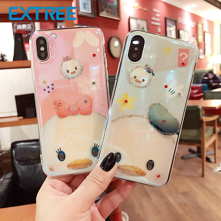 EXTREE case for iPhone Glitter Diamond Blu-ray X Cartoon Cute iPhone7plus Mobile case 6s 7/8 Men and women
