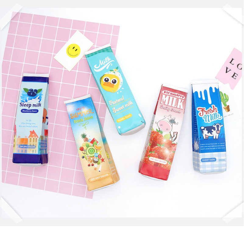 Cute Pencil-Case Korea Kawaii School Pencil Case for Girls Boys Creative Milk Carton Fruit  Stationery Bag Supplies BD010F