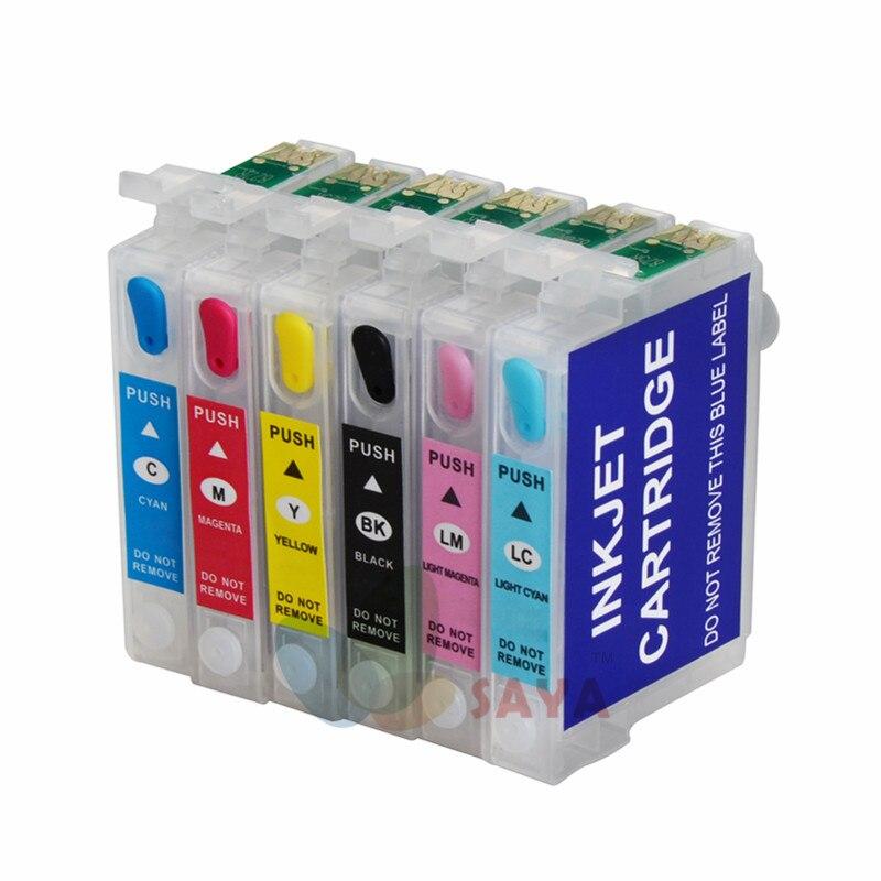 T0821 cartridge For Epson Stylus R270 R390 RX590 TX700W TX800W T50 TX720 TX700 TX800 RX610 printers Refillable with ARC Chips