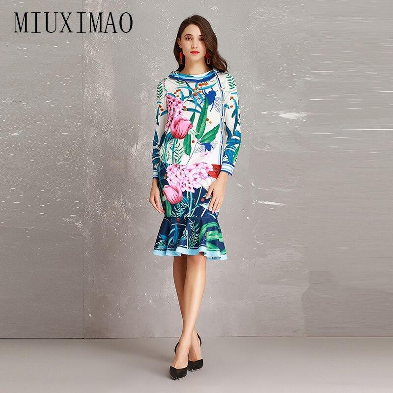 2018 automne nouveauté Style deux pièces costumes automne femmes ensembles o-cou manches longues élégant rouge fleur imprimer Mini jupe