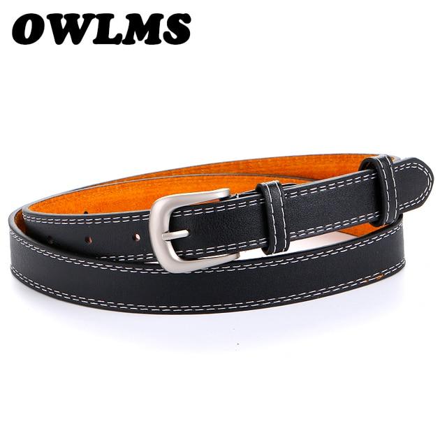 Caliente negro de diseño de cuero fino cinturones para las mujeres Casual  cinturón pin de plata ecf5ea659e0d