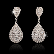 New Style Gold and Silver Drop Dangle Earrings with Full Crystal Luxury Bridal Wedding Jewelry Earring Wholesale