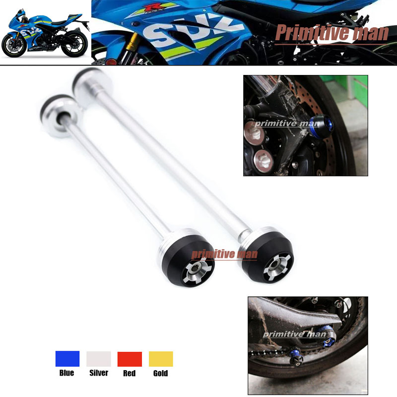 ФОТО For SUZUKI GSX S1000 GSX S1000F 2015-2016 Motorcycle Accessories Front & Rear Axle Fork Crash Sliders Wheel Protector Silver