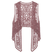 Asymmetric Open Stitch Cardigan Summer Beach Boho Hippie People Style Crochet Knit Embroidery Blouse sleeveless Vest