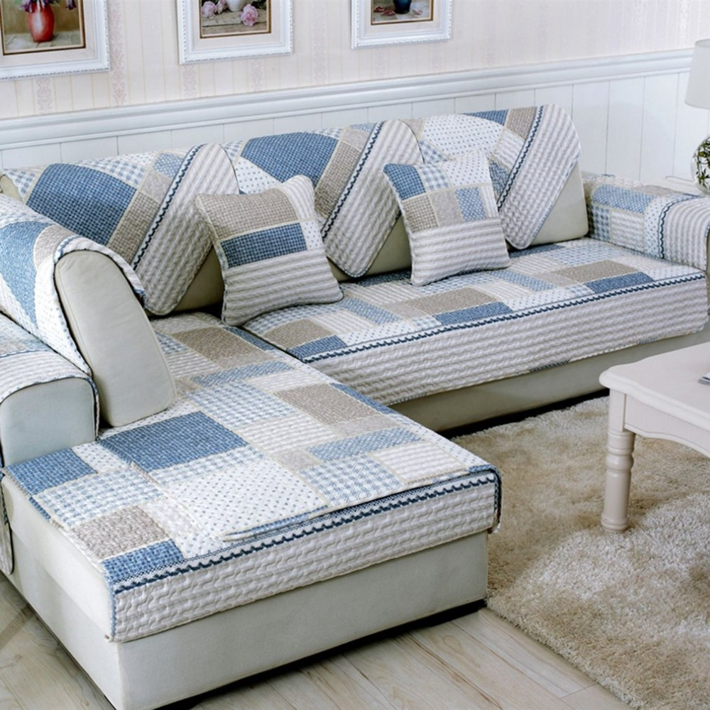 Four Seasons Modern Sofa Furniture Couch Seats Mat Cotton Non-Slip Cover Protective Pad Printed Quilted Mat Towel Multi size New