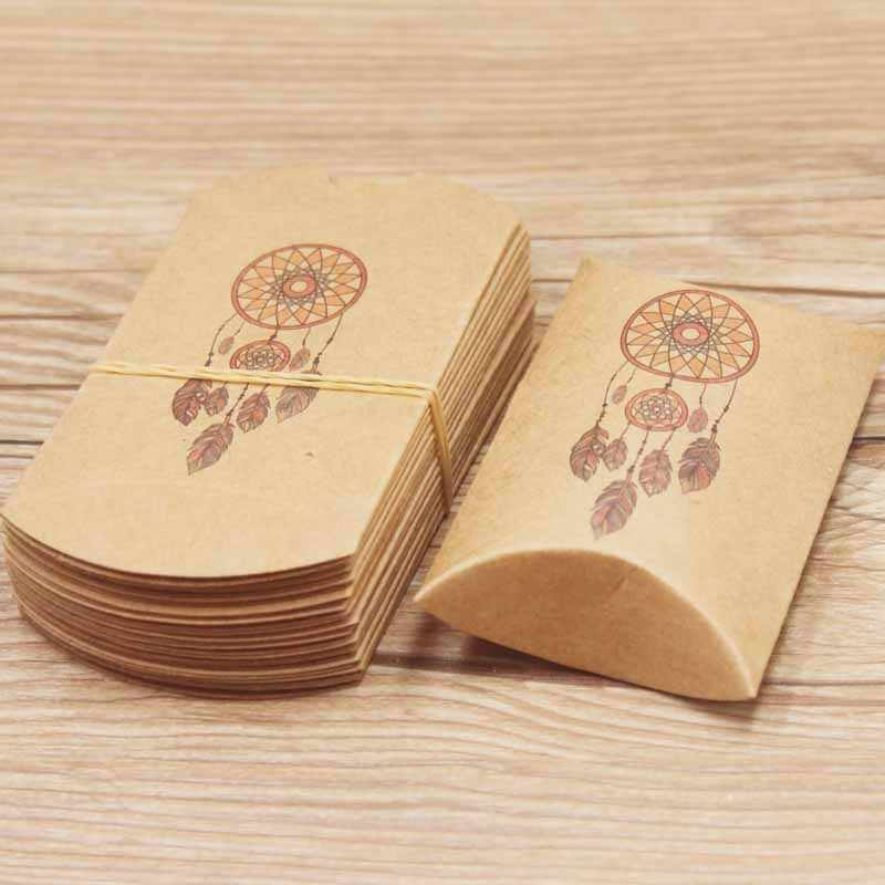 20pc/lot Best wish Dreamcatcher gifts package pillow box paper DIY Thank You marbel design wedding Candy favors package box bag