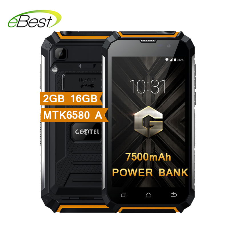 Geotel G1 7500mAh Big Battery Power Bank Mobile Phone 5.0 Inch MTK6580A Quad Core Android 7.0 2GB RAM 16GB ROM Smartphone