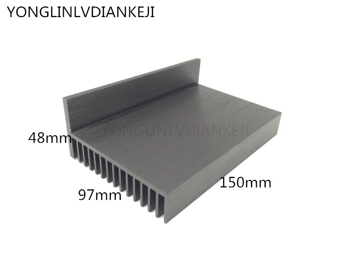 2pcs Aluminum Heat Sink/97*48-150mm LED Power Controller Heat Sink/Aluminum Radiator/black Heat Sink