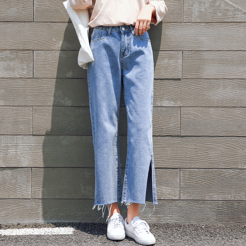 Danjeaner XS-4XL Women High Waist Wide Leg   Jeans   Autumn Casual Loose Slim Split Denim Pants Plus Size Ripped Boyfriend   Jeans