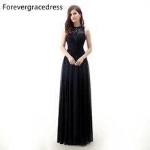 Forevergracedress Echt Fotos Schwarz Abendkleid Neue Ankunft Eine Linie Sleeveless Spitze Chiffon Lange Formale Party Kleid Plus Größe