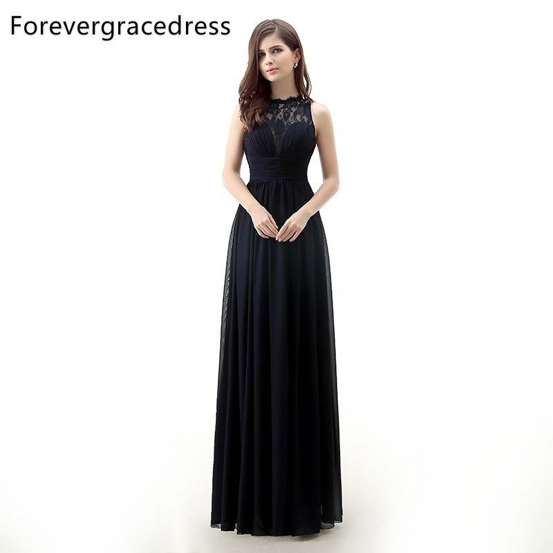 Forevergracedress Real Photos Black   Evening     Dress   New Arrival A Line Sleeveless Lace Chiffon Long Formal Party Gown Plus Size