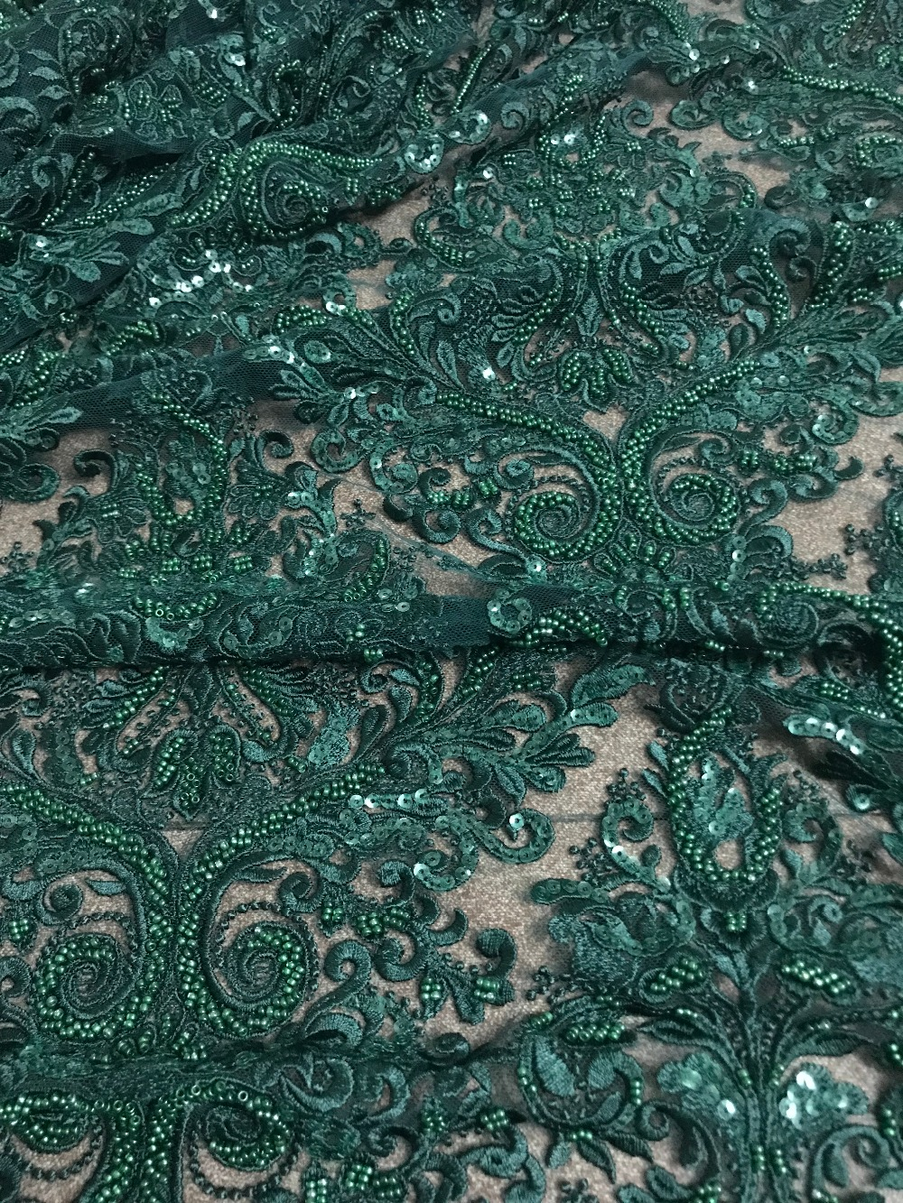 high grade tulle lace African French fabric with full beads embroidery cord lace JIANXI C 12334