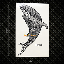 3D Vivid Whale Designs Fake Flash Tattoo Women Body Arm Flash Tattoos GH034 Kids Black Tattoo Removable Jewelry Henna Stickers