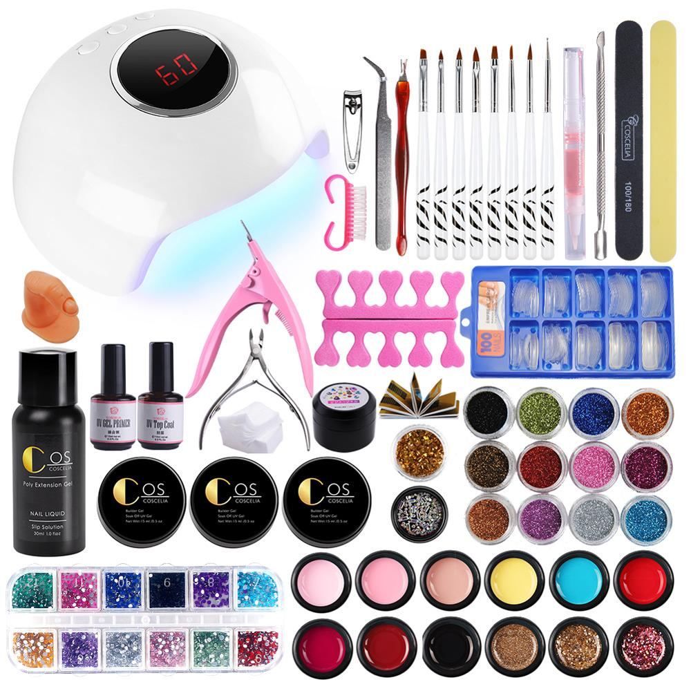 COSCELIA Acrylic Nail Kit With 24W Lamp UV Gel Manicure Set Tools For Manicure Set For Gel Varnish Tools For Manicure Nail Art