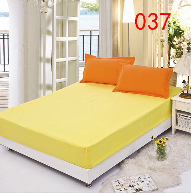 Yellow Polyester Fitted Sheet Single Double Bed Sheets Fitted Cover Twin  Full Queen Mattress Cover Bedspread