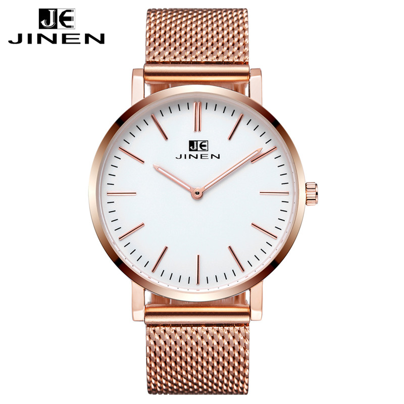 JINEN Men Fashion Stainless Steel Band Watch Ultra-thin Case Elegant Classic Casual Luminous Analog Business Quartz Wristwatch iw 8758g 3 men s and women s quartz watch fabric classic canterbury stainless steel watch with multi color striped band