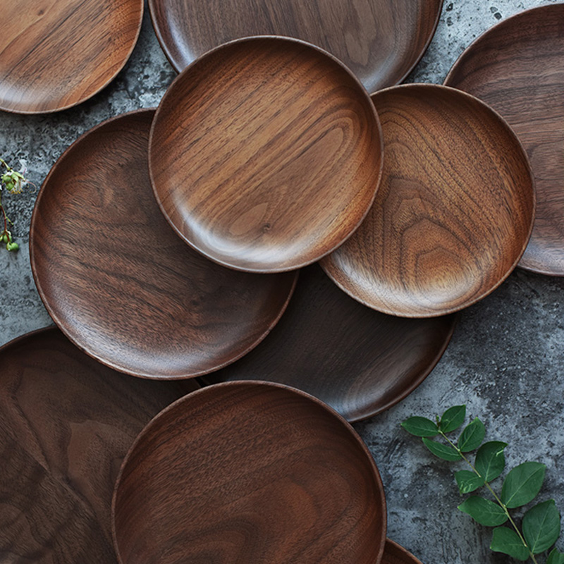 Natural Round Wooden Plates Black Walnut Wood Tray Cake Snack Plate Dessert Serving Tray Dishes Wood Utensils Tableware Gifts-in Dishes u0026 Plates from Home ... & Natural Round Wooden Plates Black Walnut Wood Tray Cake Snack Plate ...