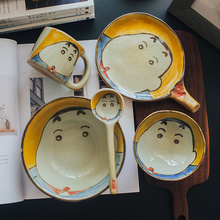 Crayon Shin-chan Hand Painting Ceramic Rice Bowl Dish Set Cutlery Creative Japanese Cartoon Spoon Bone China Dinnerware