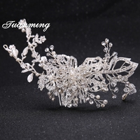 Silver Flower Zinc Alloy Crystal Pearl Bridal Hair Combs For Women Leaf Metal Hair Comb Bride