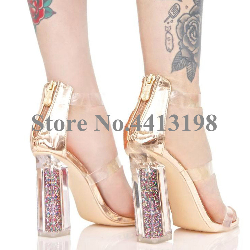 Glitter Narrow Hohe Picture Helle Band Mode Heels Frauen Super Schuhe Casual Sommer Toe as Peep As Picture Sandalen Transparent Pvc Zip 8Sqwv