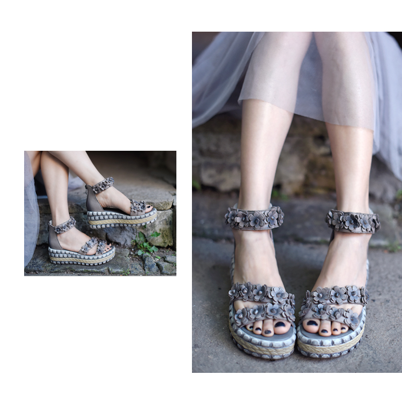 Artmu 원래 빈티지 꽃 두꺼운 바닥 웨지 발 뒤꿈치 여성 샌들 플랫폼 수제 가죽 신발 1868-에서하이힐부터 신발 의  그룹 3