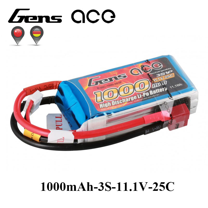 Gens ace Lipo Battery 11.1V 1000mAh Lipo 3S Battery Pack 25C T Plug Batteries for Small Airplane Helicopter RC Plane FPV Drone lp401020 3 7v 55mah ultra small lipo battery for smart watches