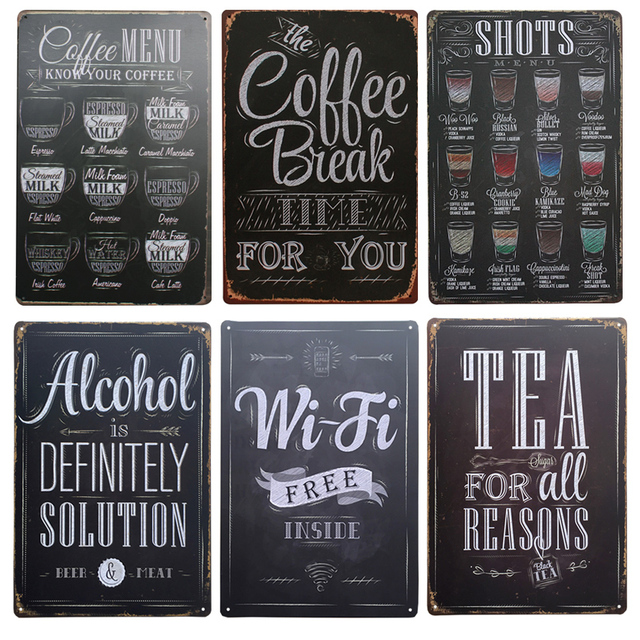 Shots Menu Cafe Bar Pub Wall Decor Metal Sign Vintage Home Decor