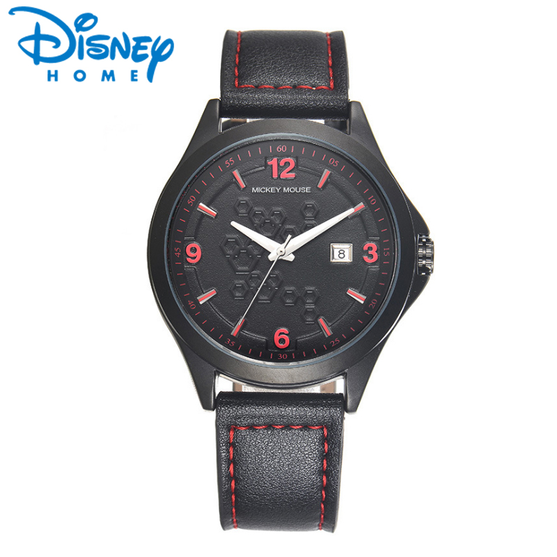 2017 DISNEY Mens Wrist Watches Top Brand Luxury Quartz Date Wristwatches for Men Fashion Leather Watch Male Clock Hodinky Reloj mens watch top luxury brand fashion hollow clock male casual sport wristwatch men pirate skull style quartz watch reloj homber
