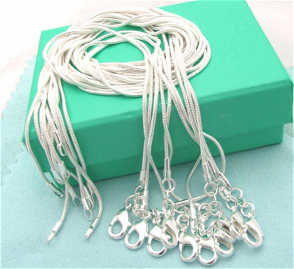 Wholesale  Jewelry Silver Plated Snake Chain 1mm 16/18/20/22/24/26/28/30 Inch Silver Necklace Jewelry Collar De Prata Picked
