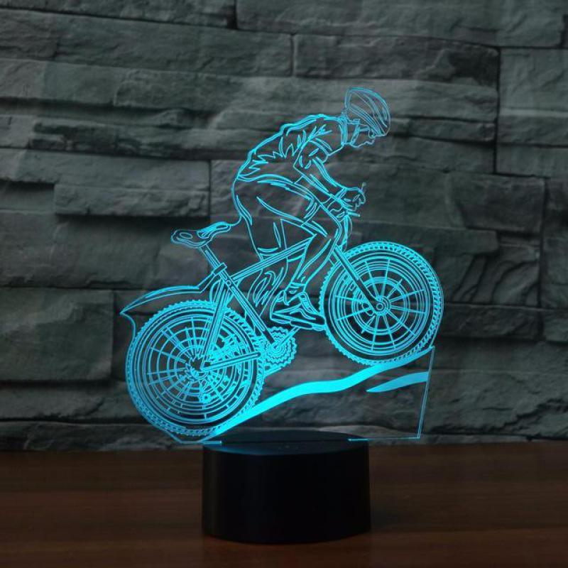 Настольная лампа для горного велосипеда, 7 цветов, светодиодная Usb настольная лампа, новинка, Veilleuse Enfant, 3d светильники, 3d ночник