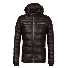 COUTUDI New Arrival Winter Coat Men Warm Waterproof Parka Coffee PU Leather Jacket Casual Puffer Jacket and Coats Men's Clothing(China)