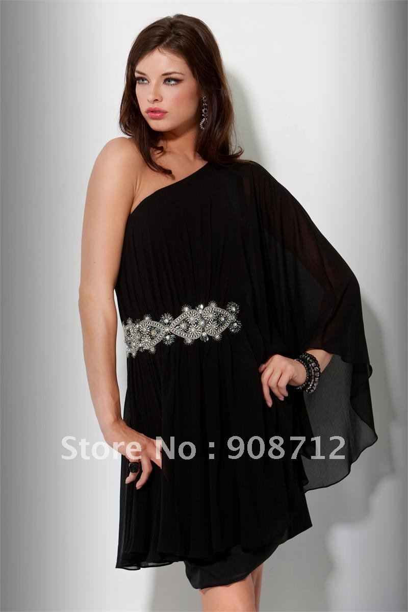 One Shoulder Black Cocktail Dress - Ocodea.com