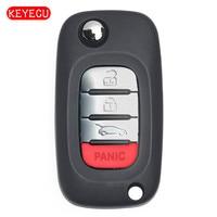 Keyecu OEM Flip Remote Key 4 Button 433MHz 4A Chip Car Key for Benz Smart Fortwo 453 Forfour 2015 2017