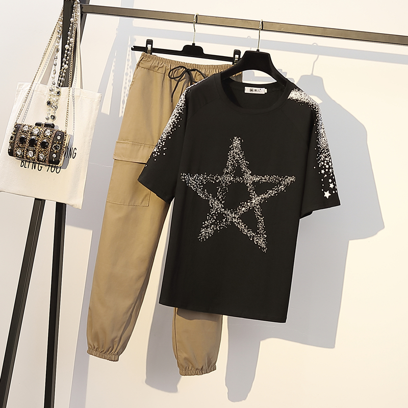 Летний комплект 4XL Футболка женские повседневные штаны комплект из двух предметов плюс размер короткий рукав топы хлопок Черная футболка