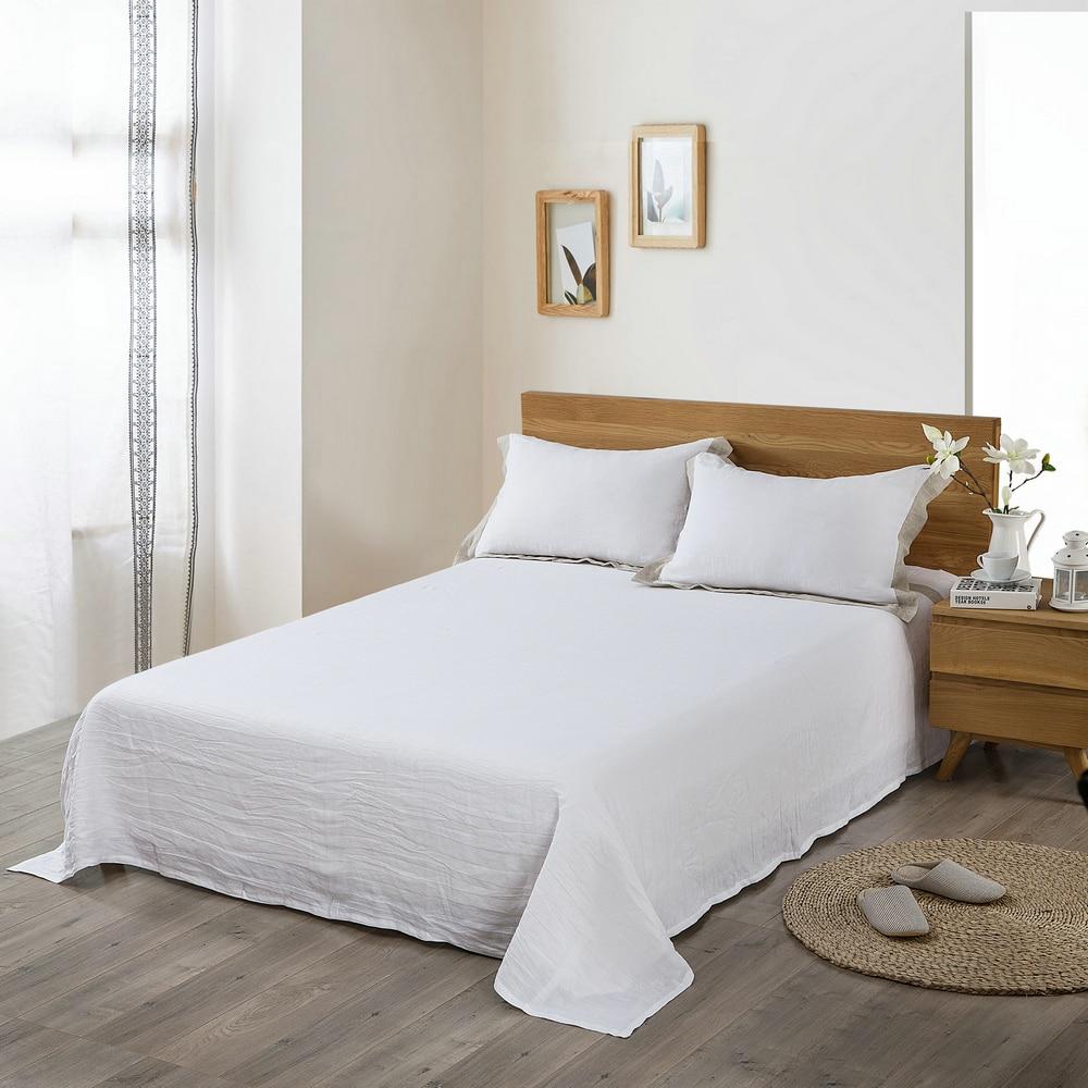 3pcs Fitted Sheet Sets 100% Pure Linen flat sheet Waterwash pillowcase  Good Handfeel Free Shipping