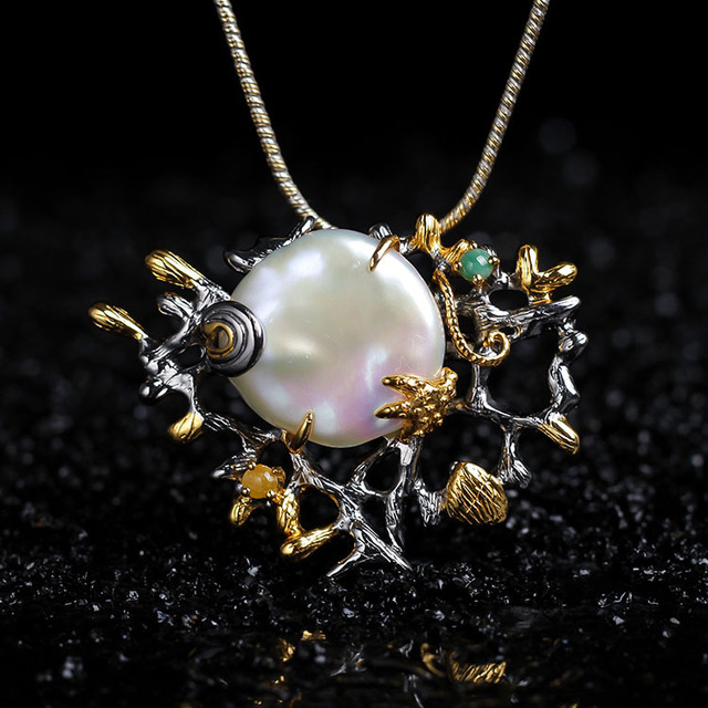 Designer S925 Sterling Silver Jewelry Ladies Elegant Accessories Natural Baroque Pearl Pendant And Brooch Dual-use Wholesale