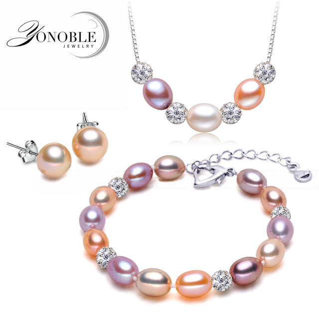 100% Wedding Freshwater Pearl Jewelry Sets,925 Sterling Silver Natural Pearl Necklace Earring Set Anniversary Giftgift spoonjewelry gift baggift jewelry box